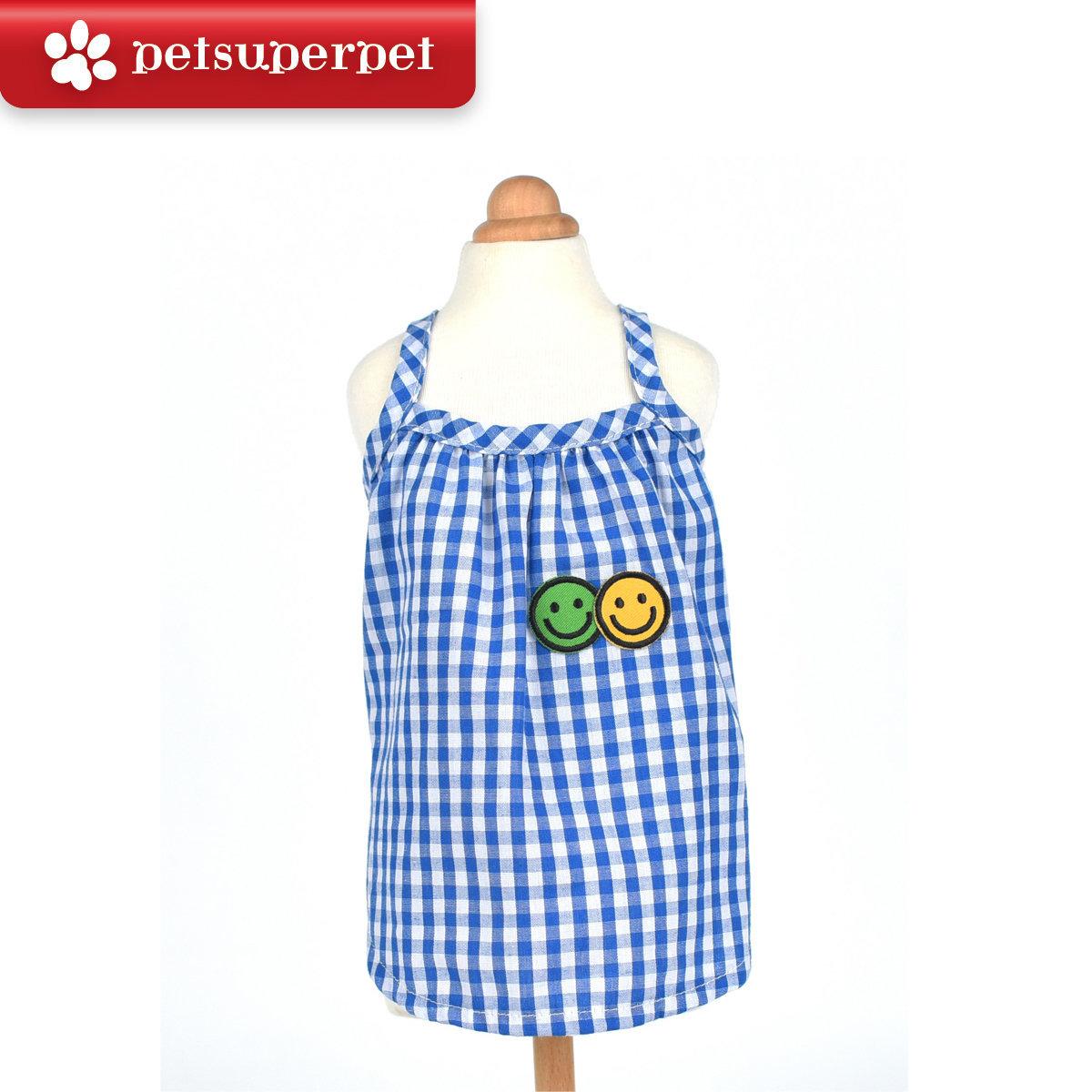 Blue grid smiley vest (Parallel Import Goods) (Size:10)