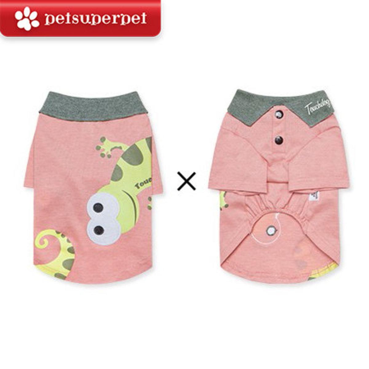 可愛變色龍小型犬Polo恤 (平行進口貨品) - 粉紅色,中碼