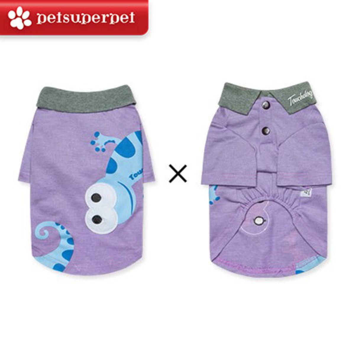 可愛變色龍小型犬Polo恤 (平行進口貨品) - 紫色,大碼
