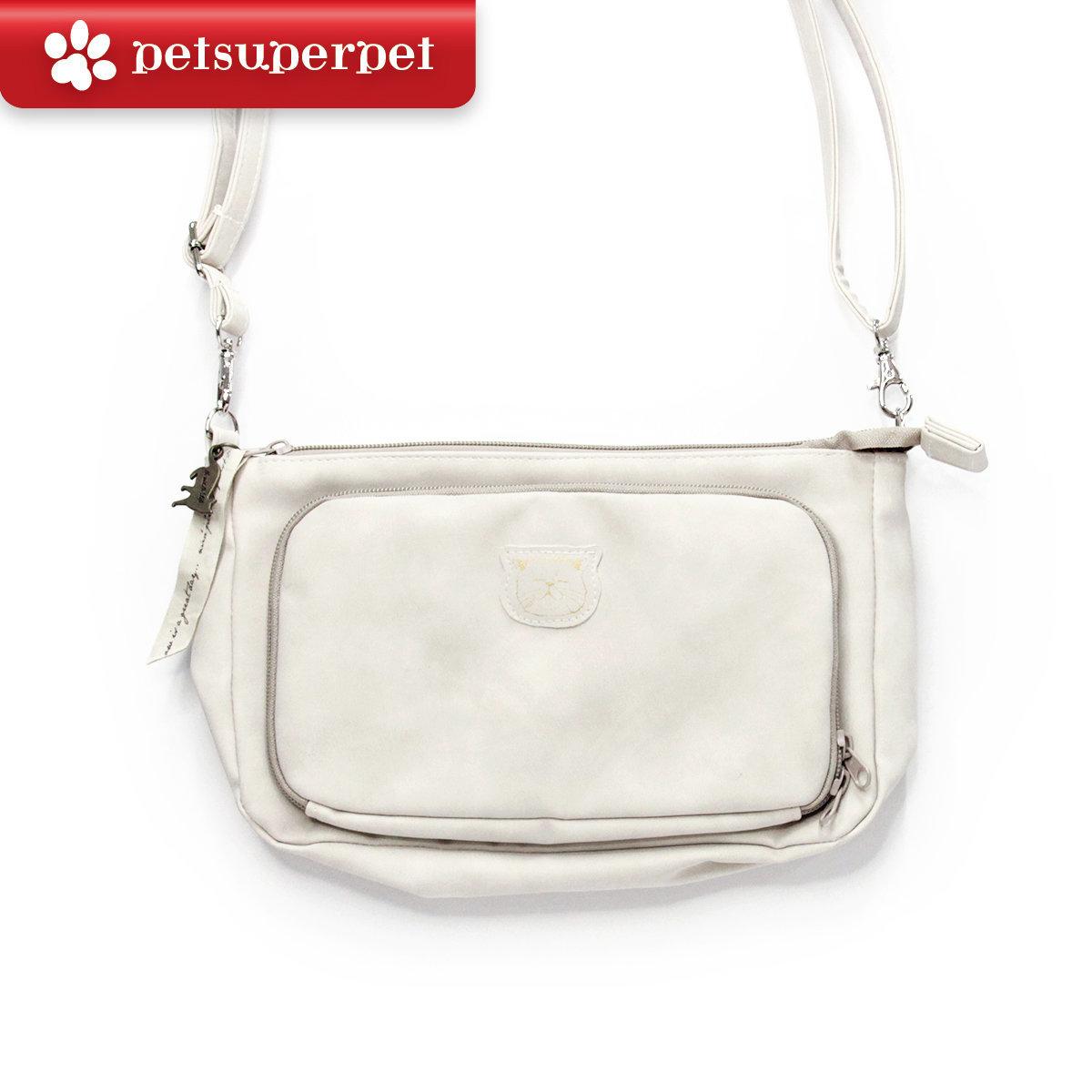 Medium-sized cute cat cross body bag - White