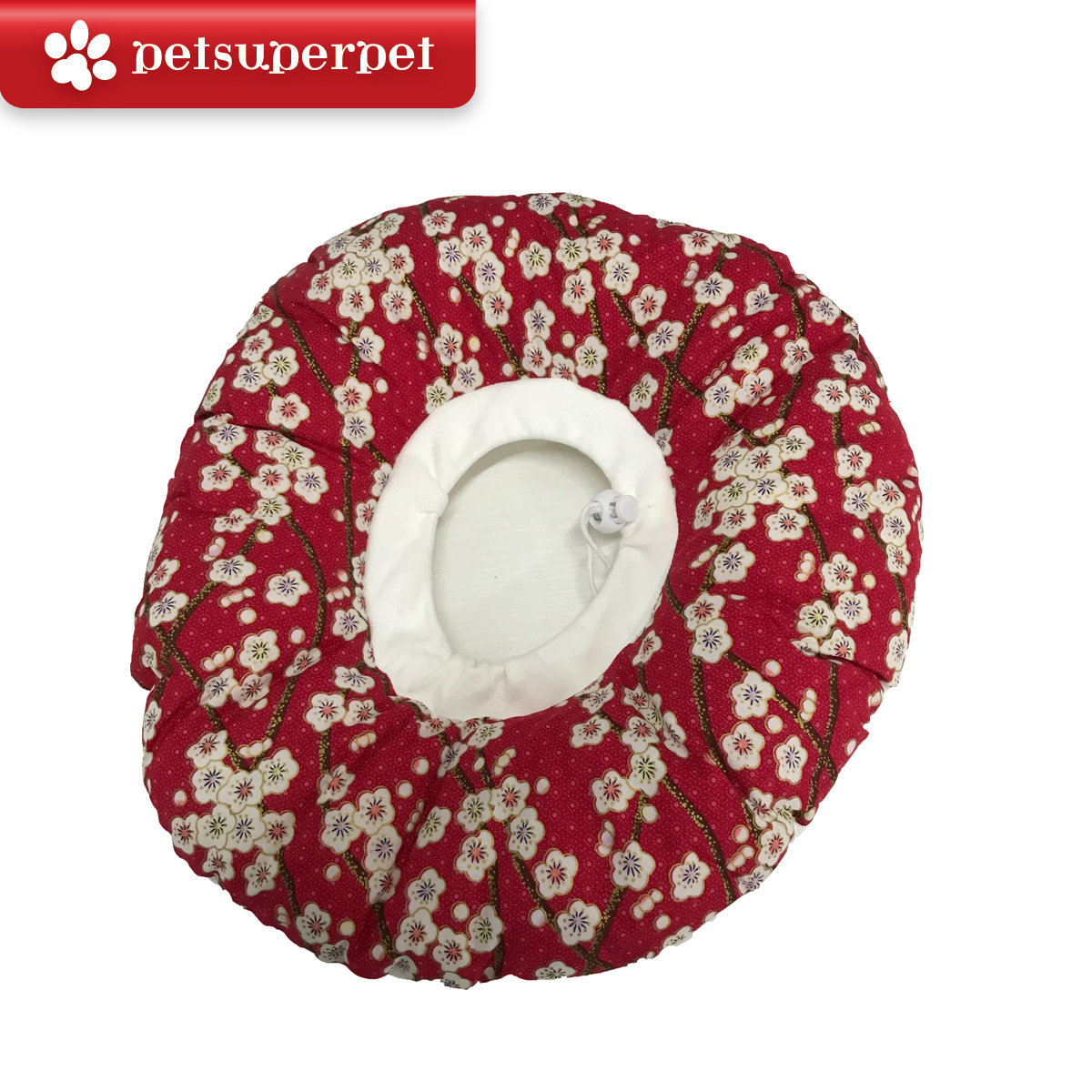 Cat Scratch-Resistant Collar - Red Plum flower, Large