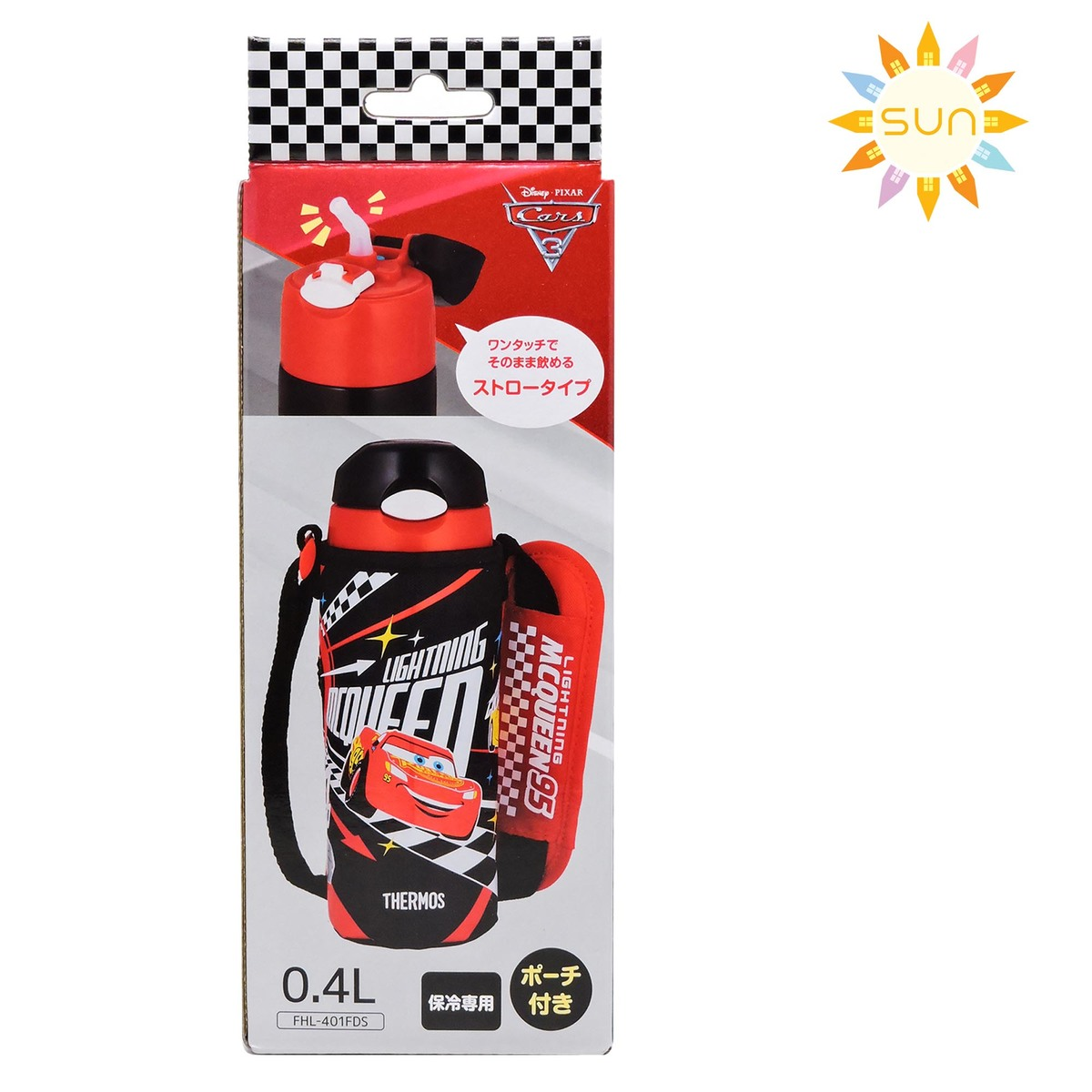 Stainless steel vacuum insulation / cold storage bottle with bag 400ml (Cars3 - Black) FHL-401FDS-BKC