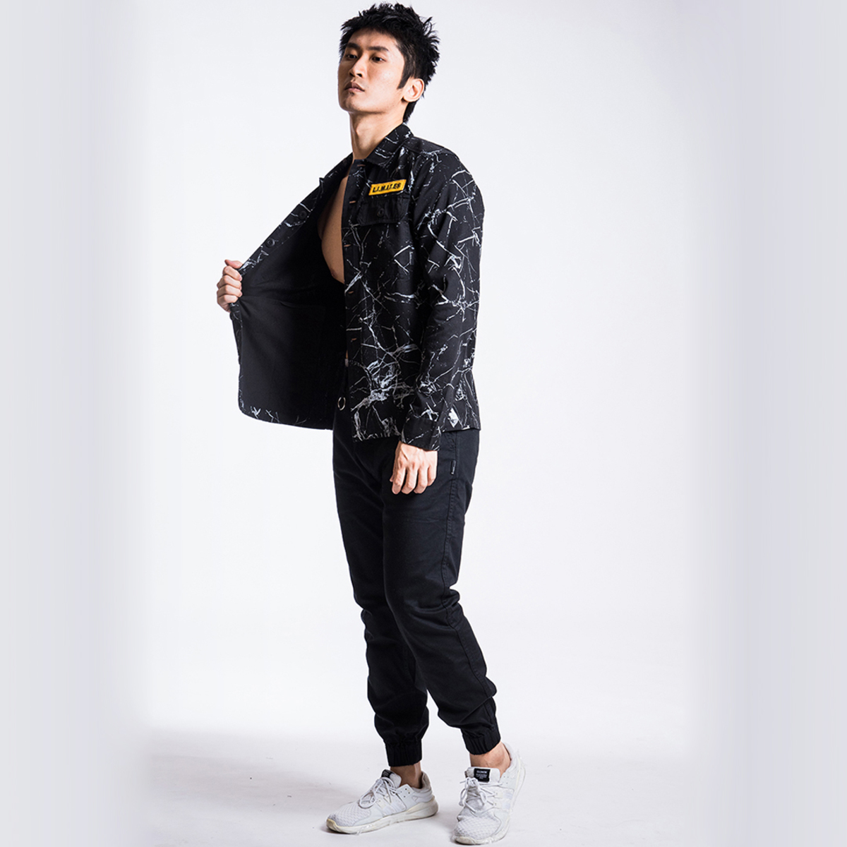 Men's Emb Patch with Marble print Shirt Jacket