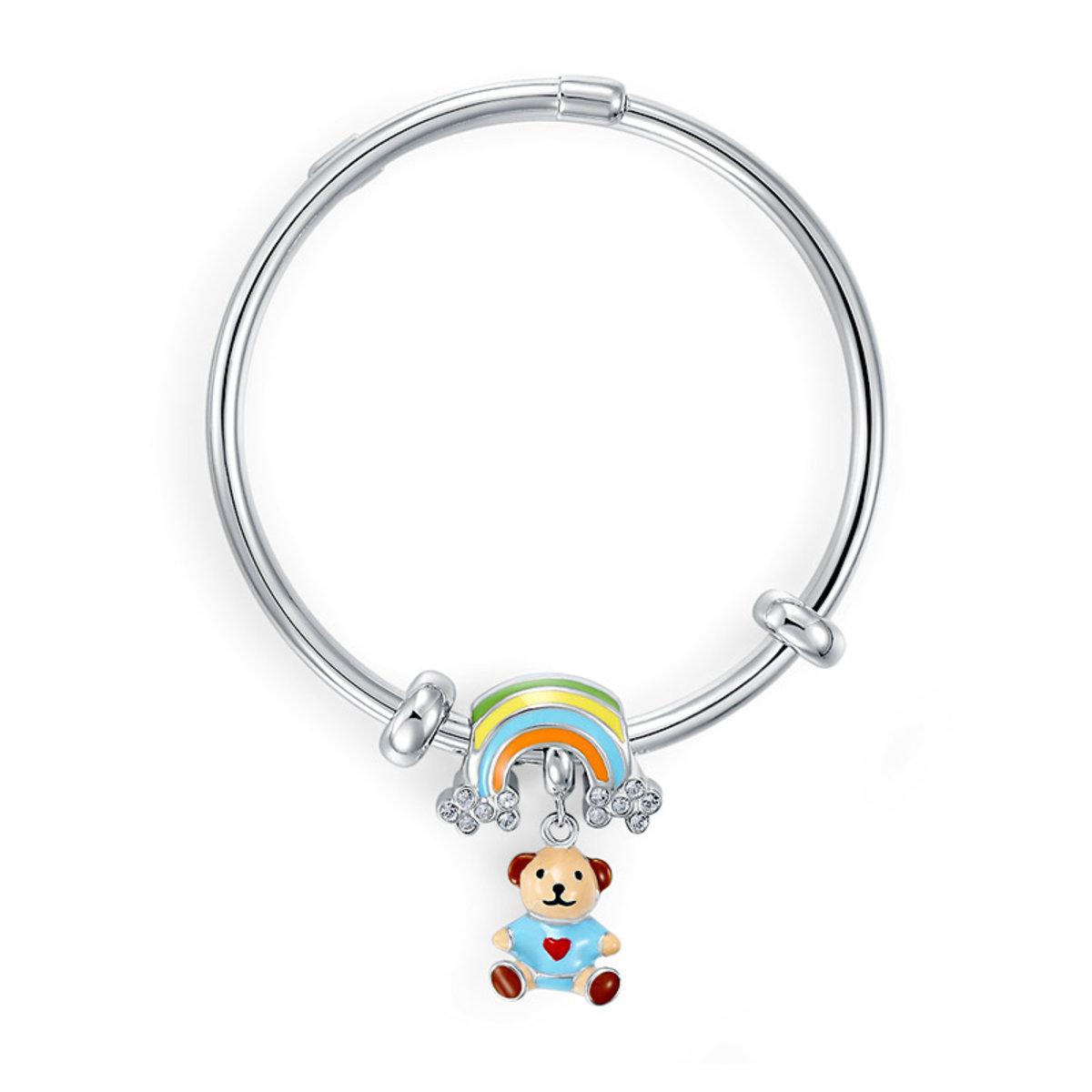 """嬰幼兒 / 小童 韓式925純銀 """"彩虹&小熊""""手鐲手鈪或腳鈪 生日禮物"""