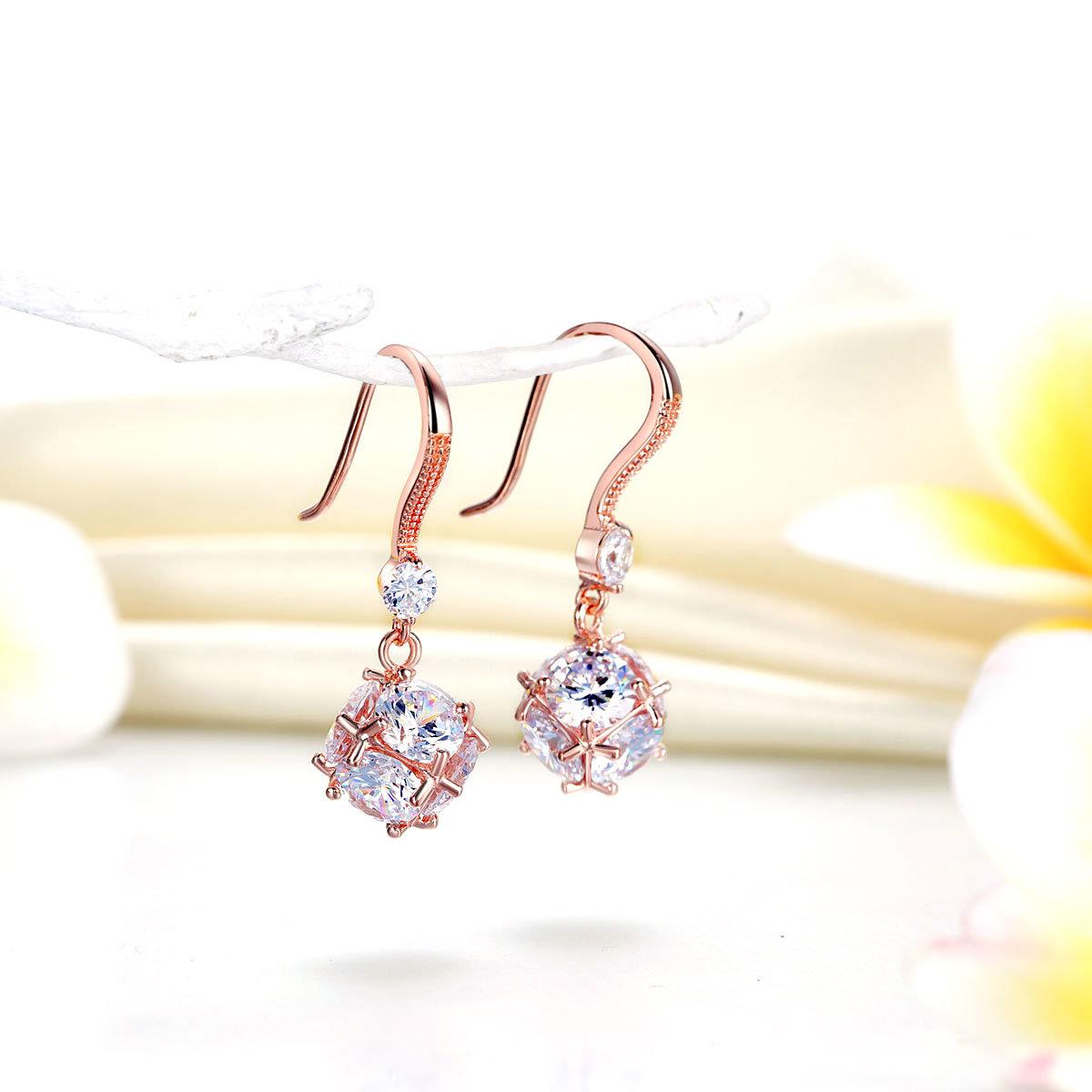 925純銀 鍍玫瑰金色 耳環 垂吊立方仿鑽