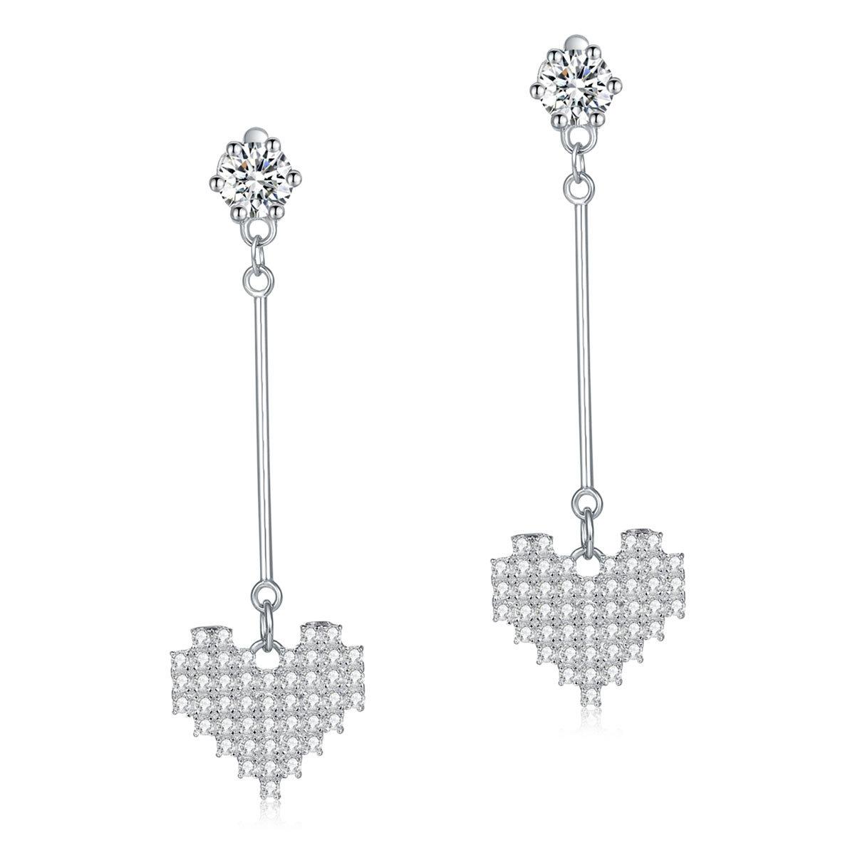 Dangle Heart 925 Pure Silver Earrings