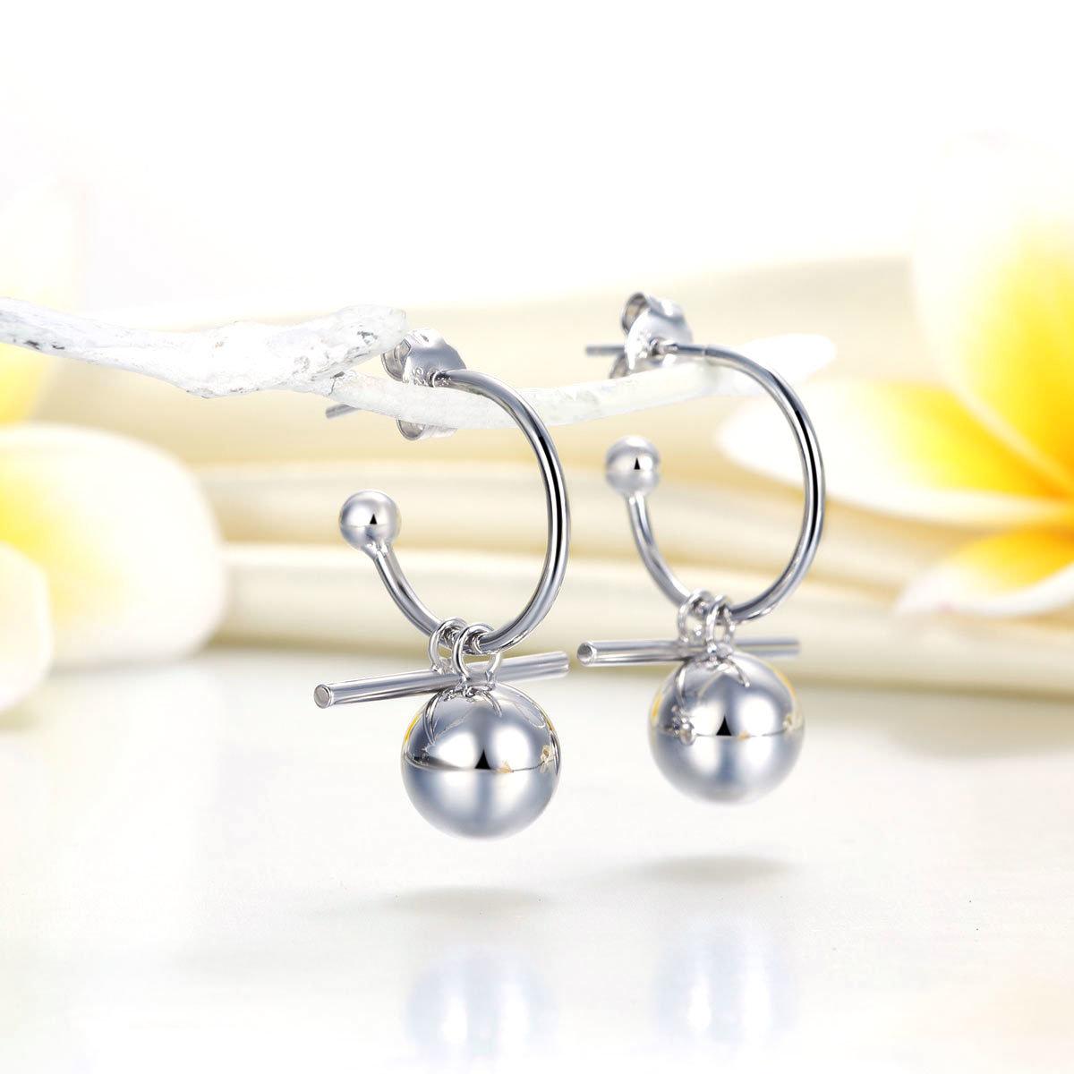 Dangle Balls 925 Pure Silver Earrings