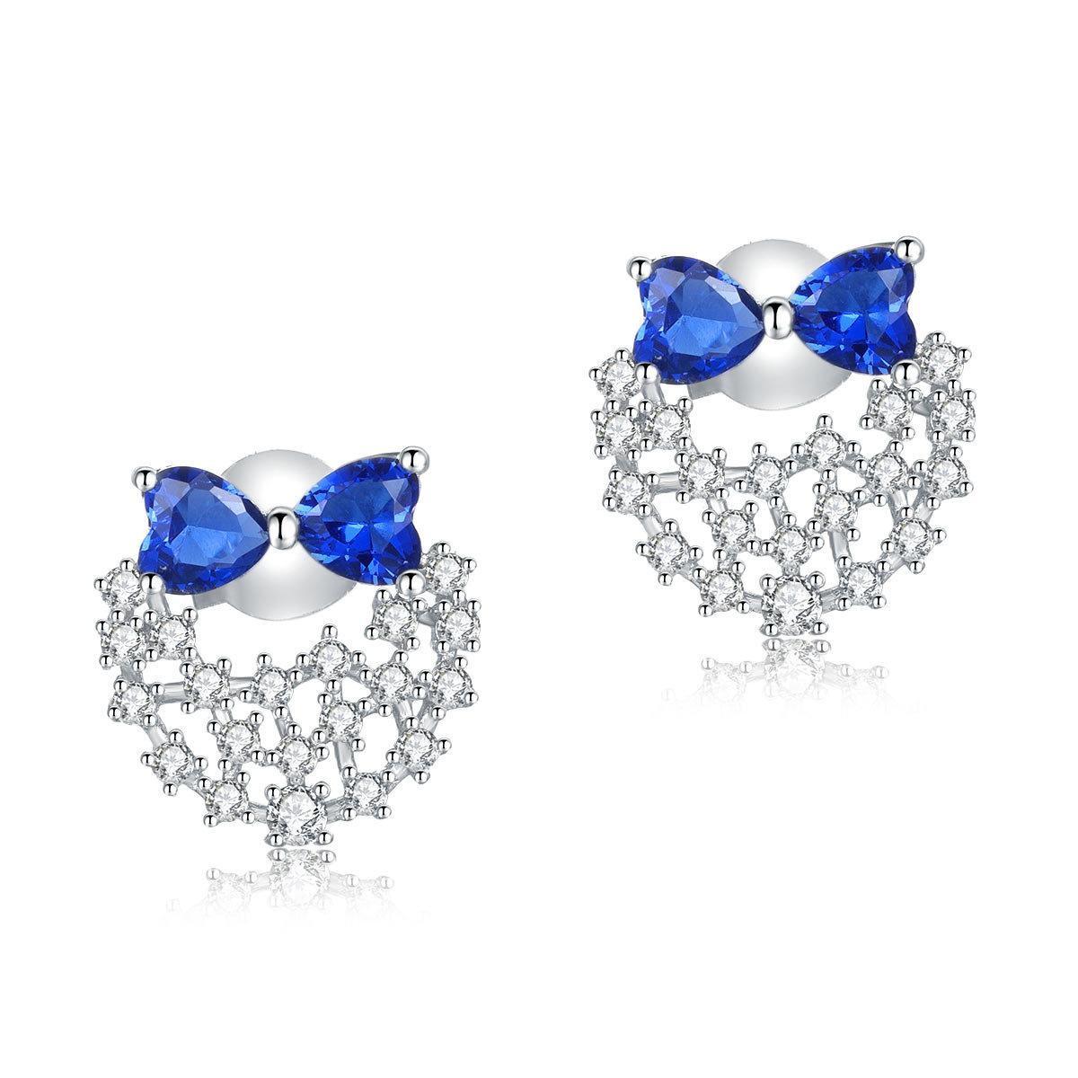 925純銀耳環藍色仿鑽