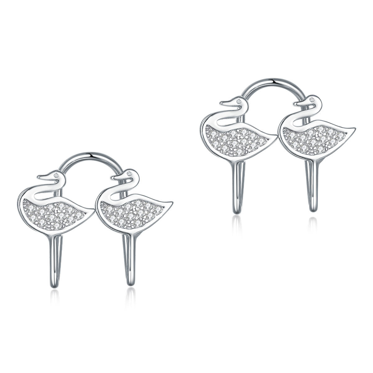 925 Pure Silver Clip Earrings Swan (No need Ear Holes)