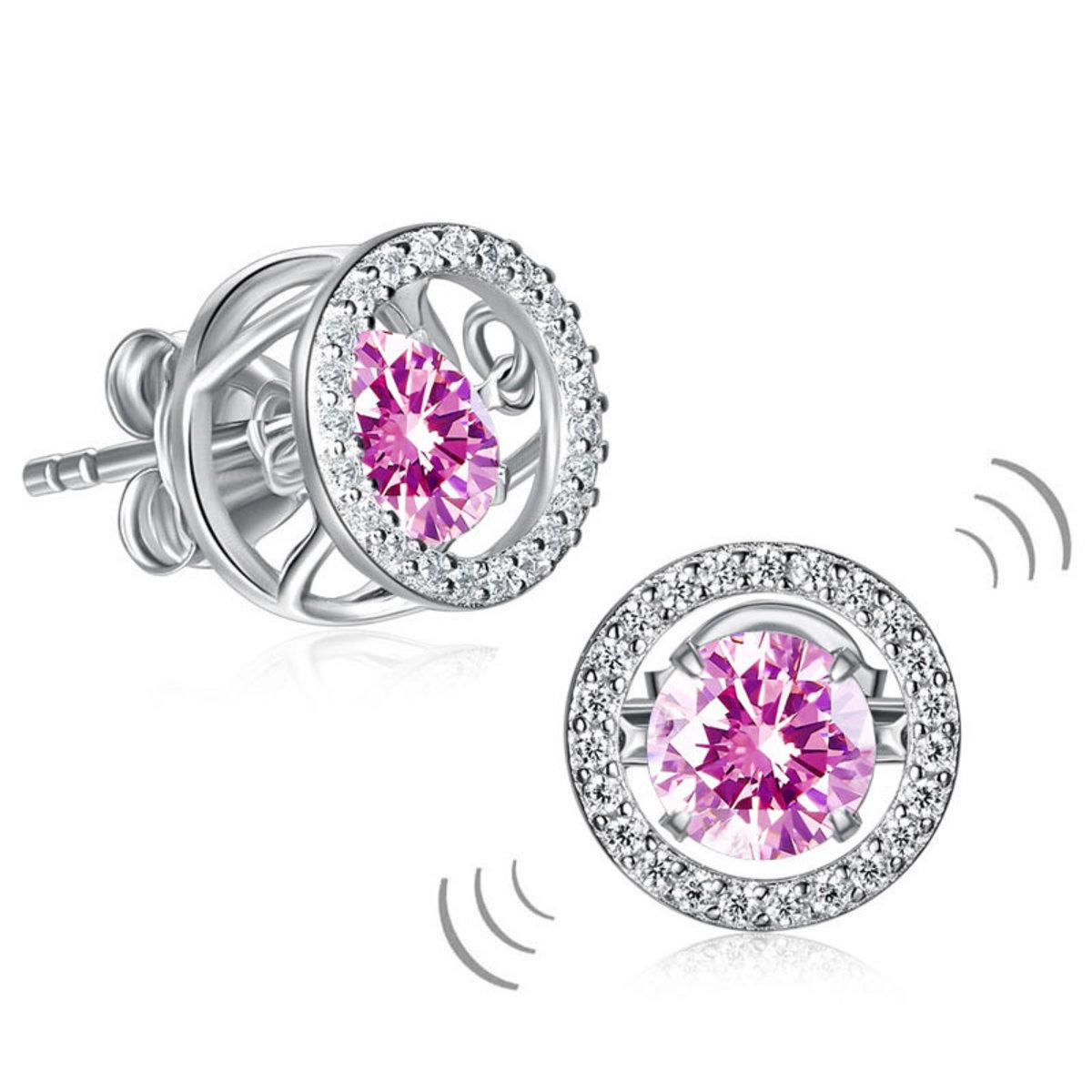 跳動懸浮925純銀 粉紅色仿鑽耳釘耳環