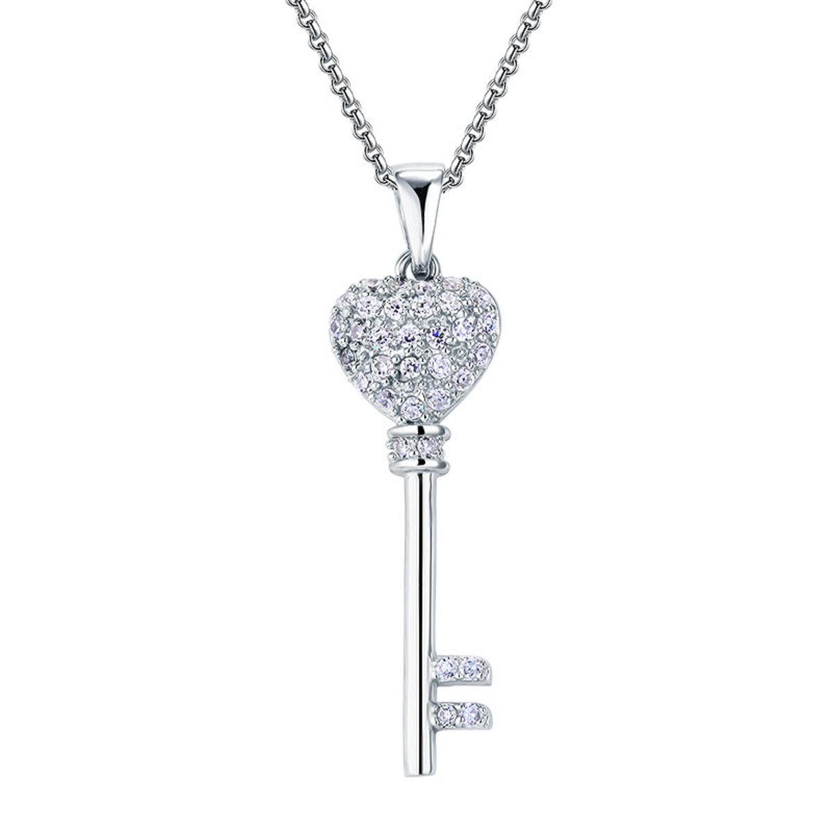 心形頸鏈 鑰匙吊咀項鍊 925純銀仿鑽 首飾