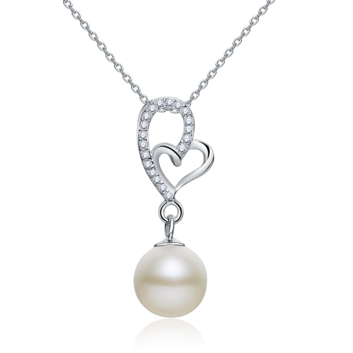 925 Pure Silver Pearl Necklace Heart Shape