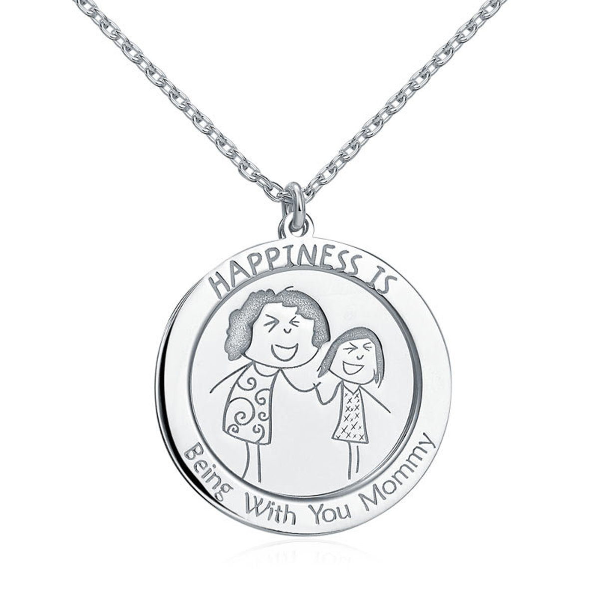 925 Sterling Silver Necklace - Happiness is Being With You Mommy