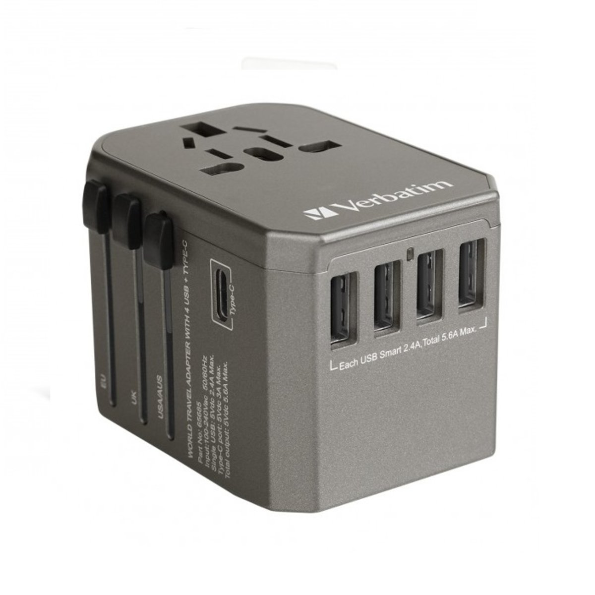 5.6 A OUTPUT MAX ( TYPE-C + 4 X USB PORT ) UNIVERSAL TRAVEL ADAPTER - SPACE GREY ( 65685 )