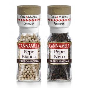 Cannamela 意大利即磨胡椒孖寶   即磨白胡椒 + 即磨黑胡椒 60克