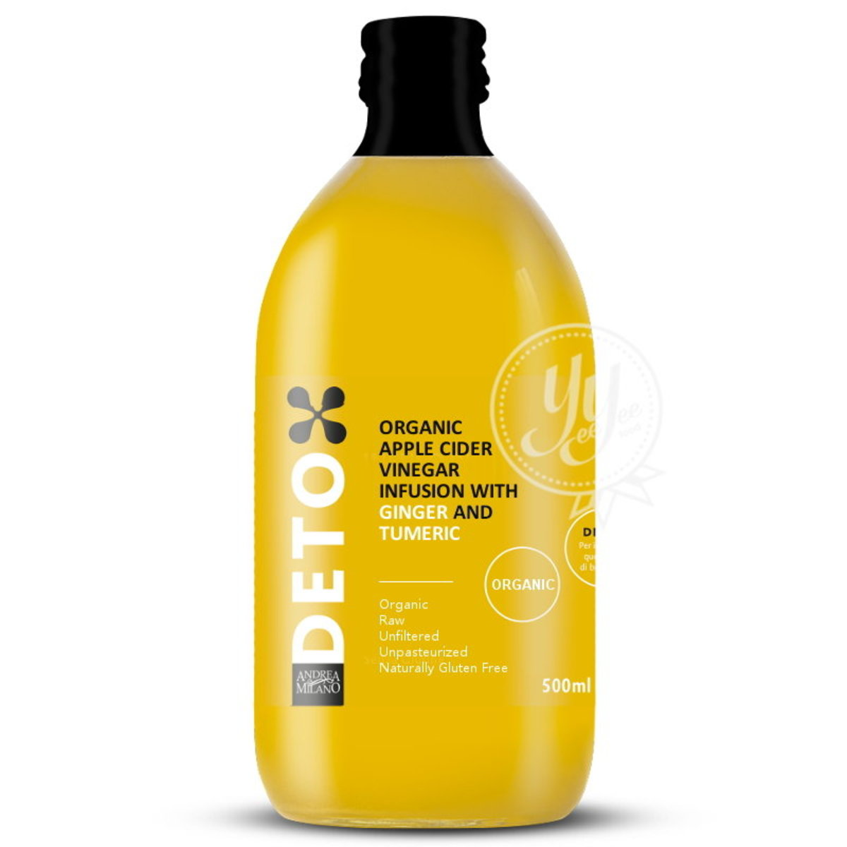 Italian Organic Apple Cider Vinegar Infusion With Ginger and Tumeric 500ml