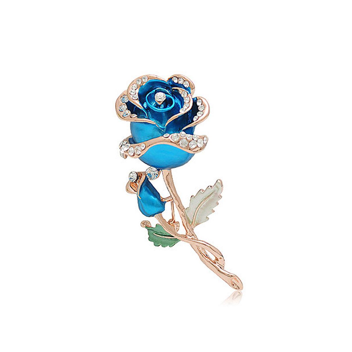 美麗藍色玫瑰花胸針配白色奧地利水晶