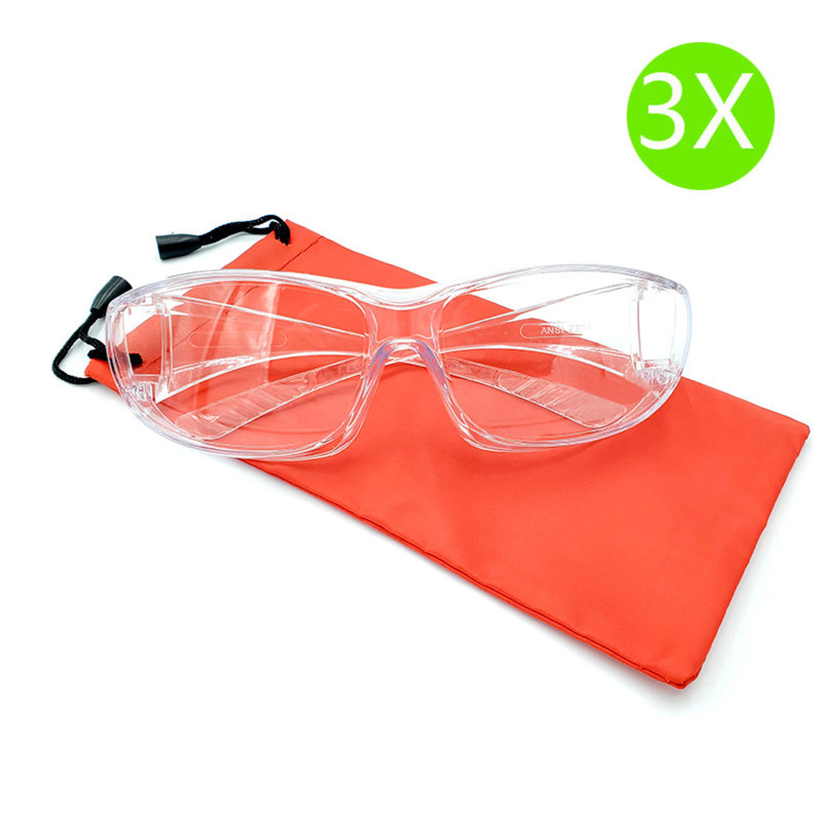 Taiwan Made 3X Transparent Goggles against Droplet Infection 3 pairs (Orange Bags)