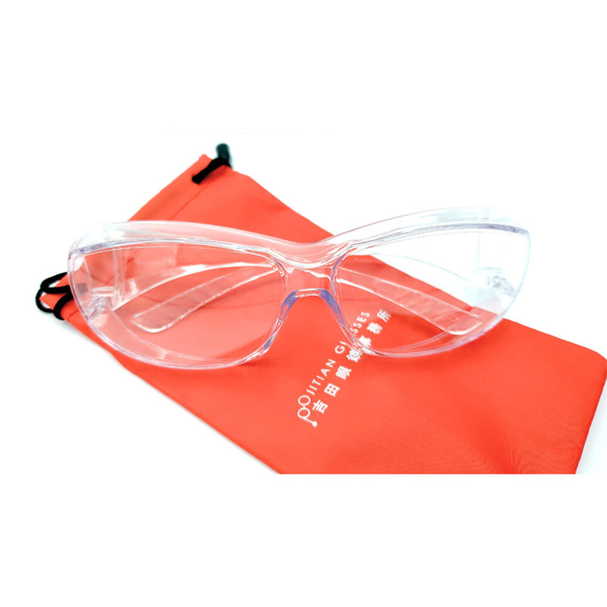 Taiwan Made Transparent Eye Goggles against Dust and Droplet Infection 1 pair (Orange Bag)