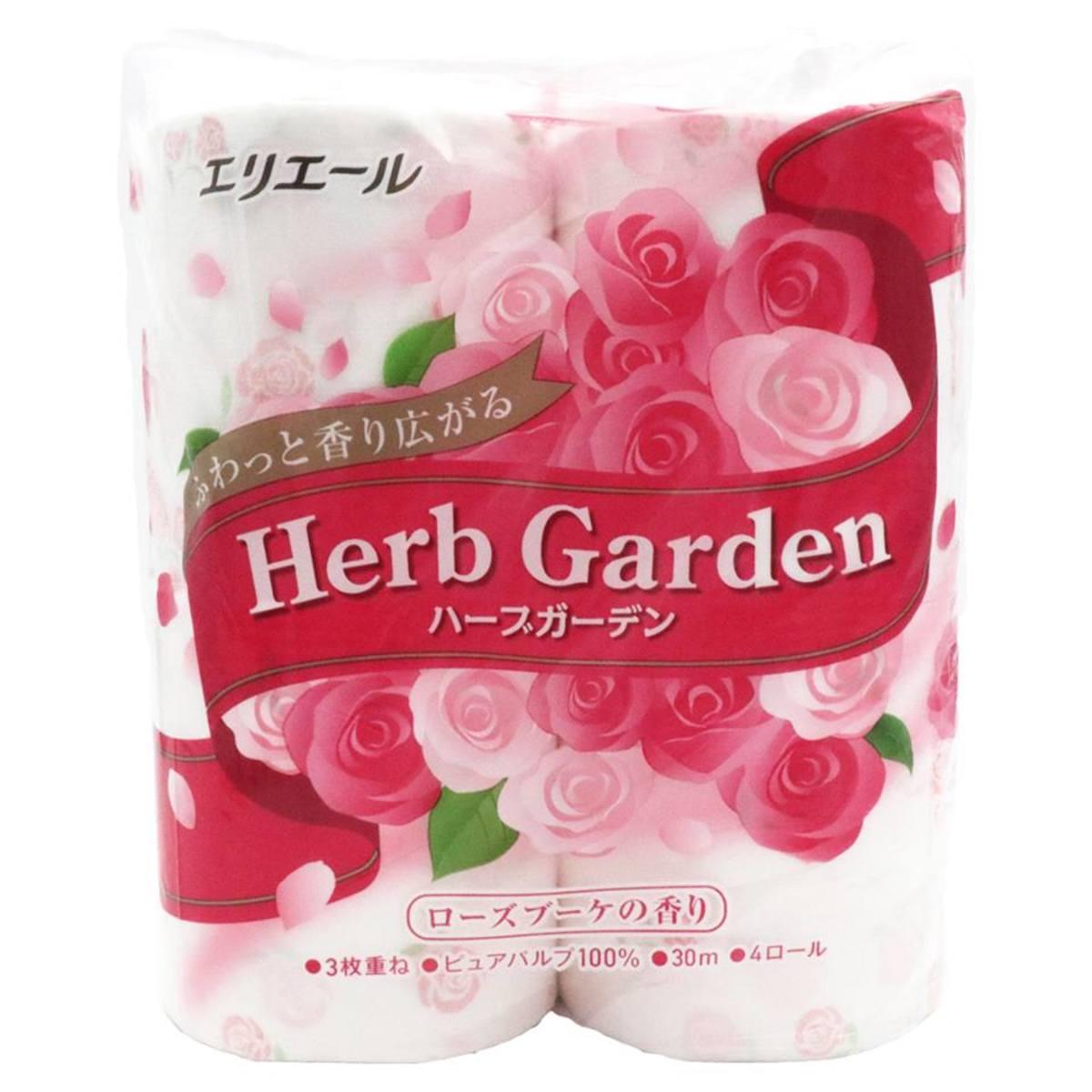 Elleair 草本花園卷筒衛生纸(粉) #玫瑰 30mX4卷