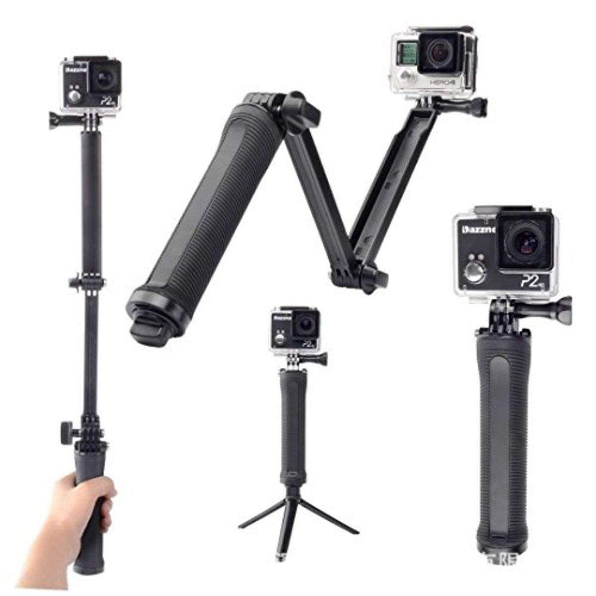 3式 自拍三腳架 可折疊 可調節 輕巧兼容運動相機 GoPro / Xiaomi yi / SJCAM / LEVIN / DBPOWER / AKASO