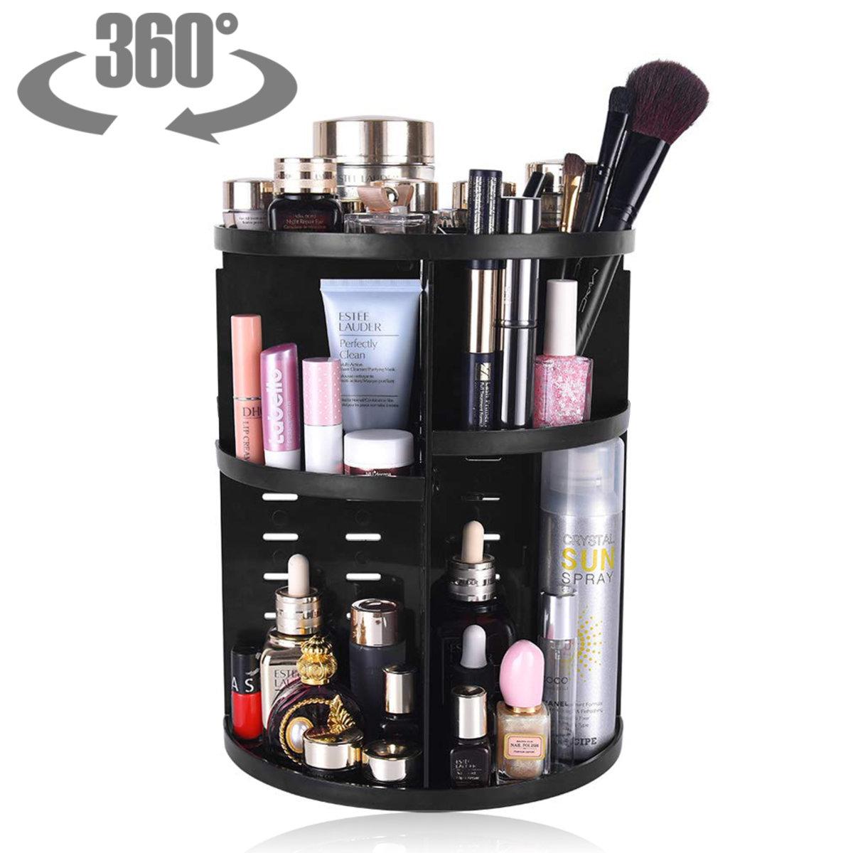 Makeup Organiser Rotating 360 Degree Adjustable Multi-Function Cream Brush Lipsticks Display Stand