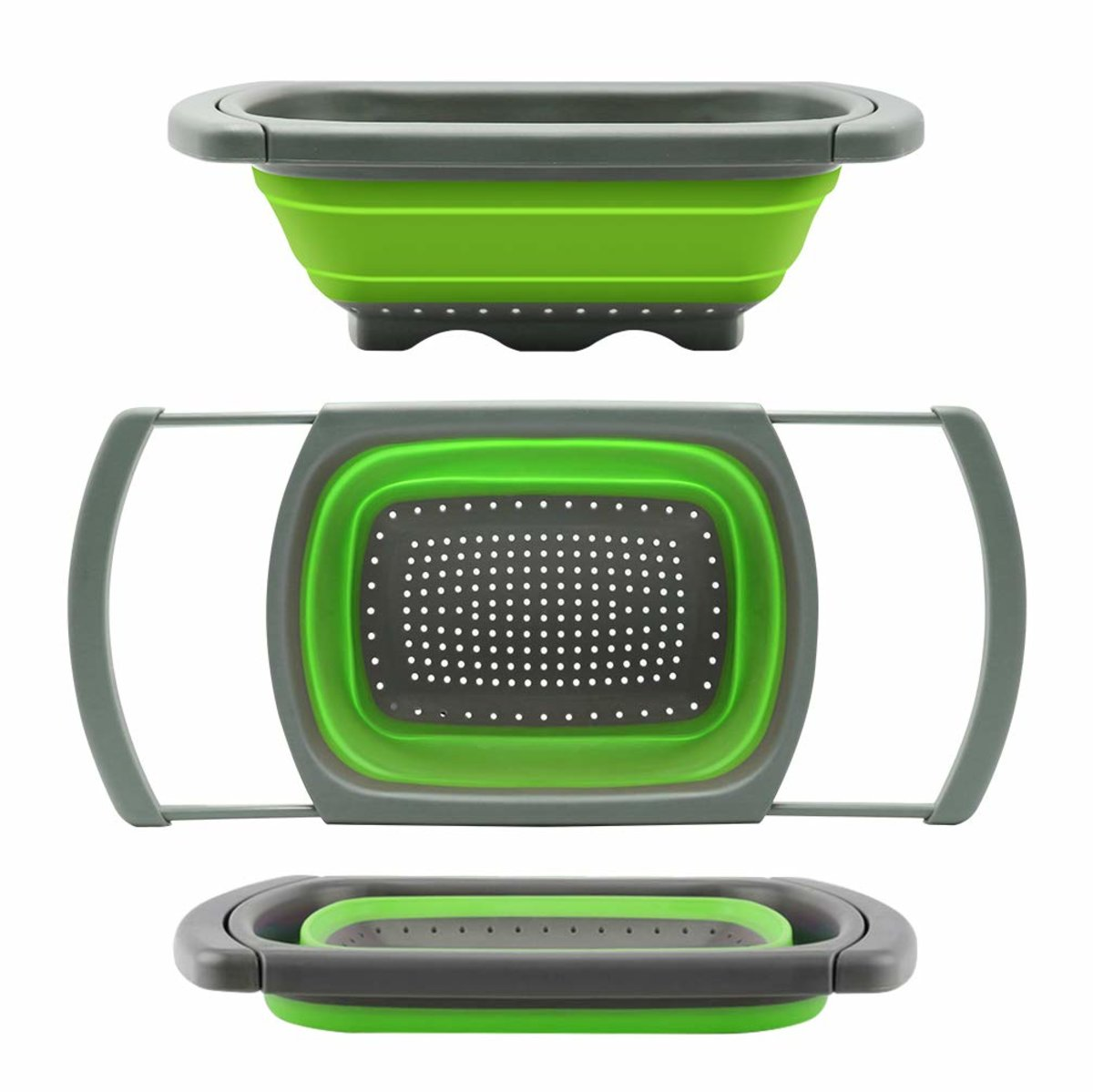 可摺疊洗菜盤 矽膠洗菜籃 3.8升容量 寬度26.5cm 洗滌過濾器 帶可伸縮手柄 可放置在大多數尺寸的鋅盆上