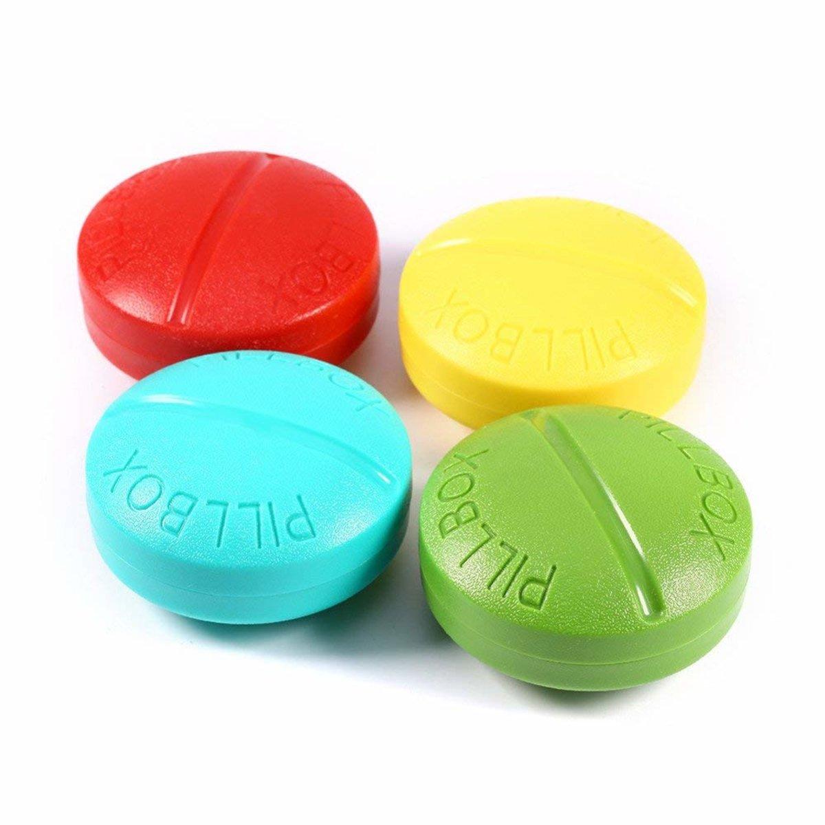 【1套2個】旅行藥盒 維他命 藥丸藥物收納盒 4隔層(顏色隨機)