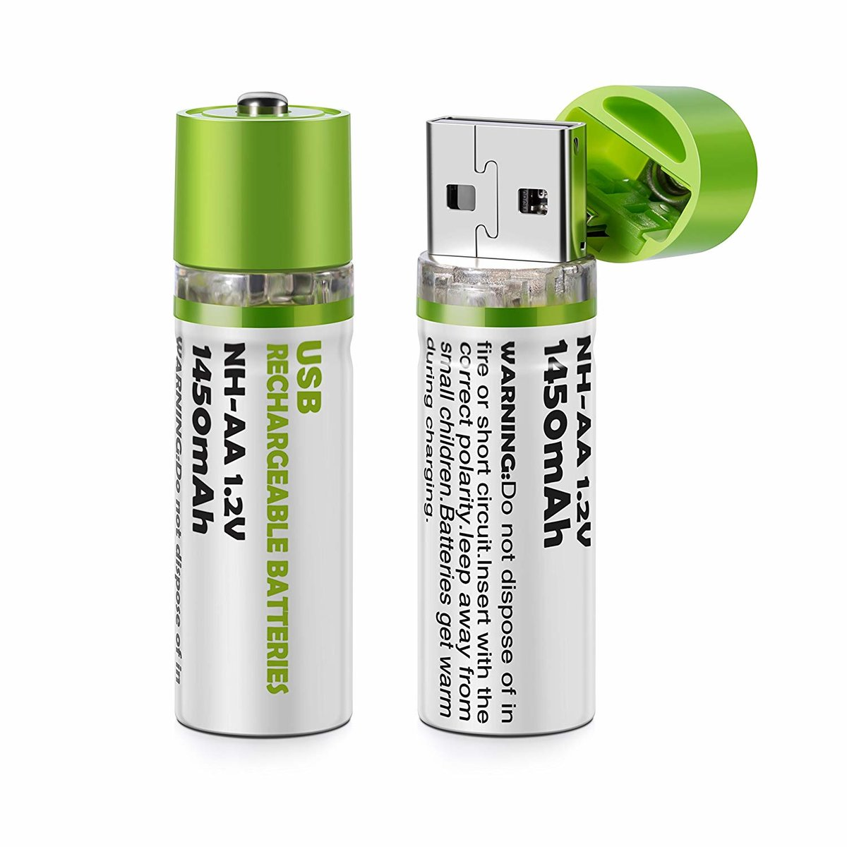 【Pack of 2】USB Rechargeable AA Batteries Cell NH-AA 1.2V 1450mah