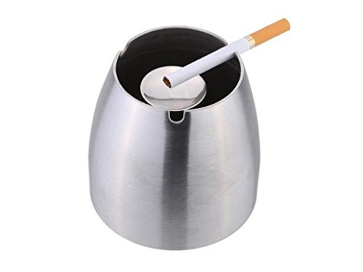Stainless Steel Windproof Ashtray Table Cigarette Ash Holder for Pub Home Office Decoration