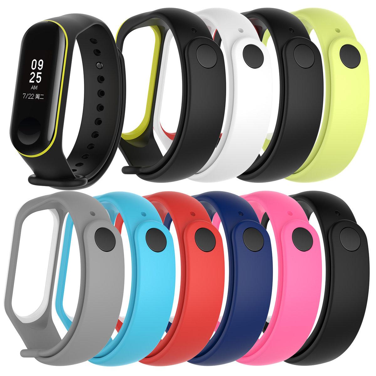 【一套10條】可調節 小米手環 3 / 4 替代手錶錶帶 矽膠雙色錶帶 - 不適合Xiaomi Mi Band 1/2 使用 (非原廠)