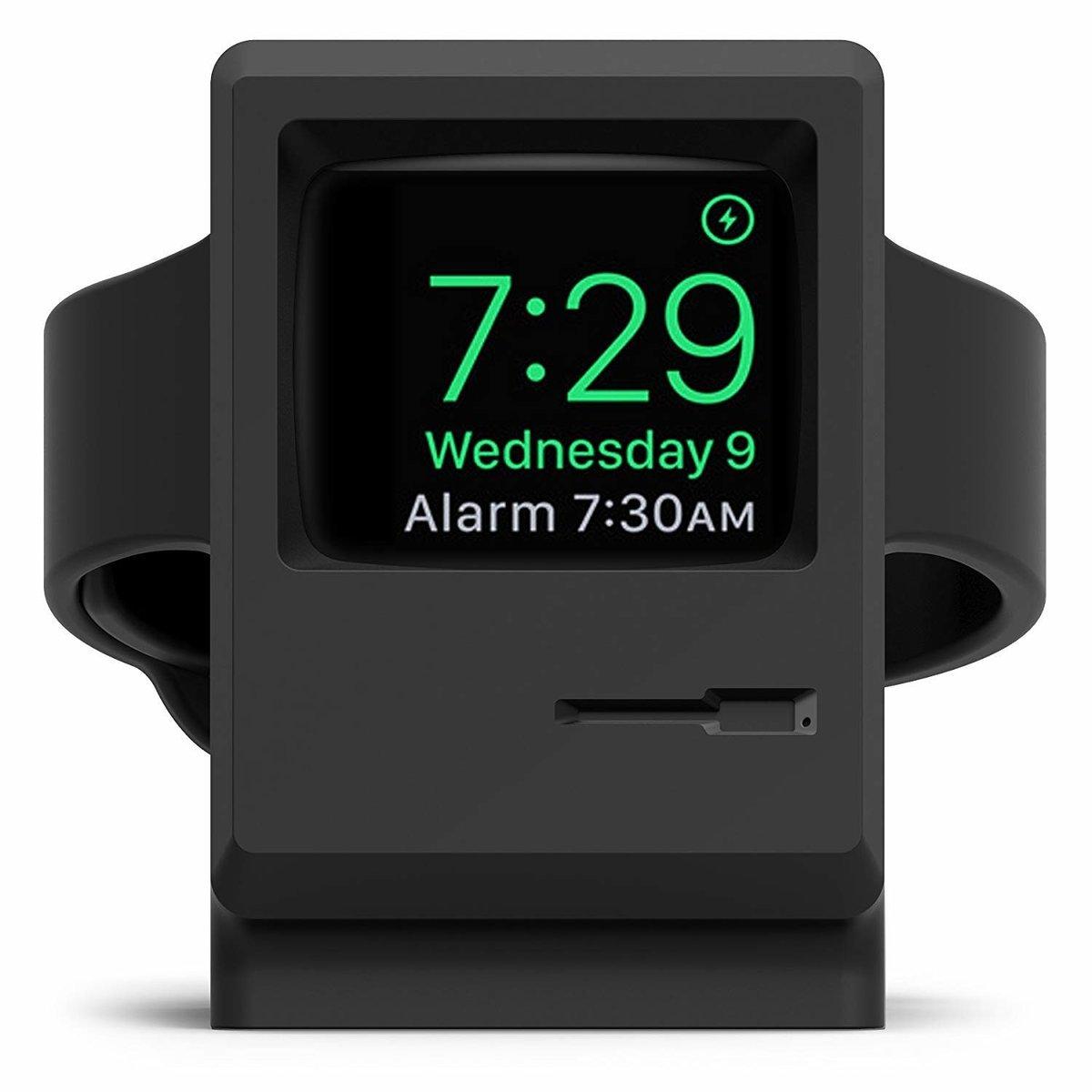 復古Apple Watch矽膠充電支架適用於Apple Watch 1/2/3/4 38 / 42mm-黑色