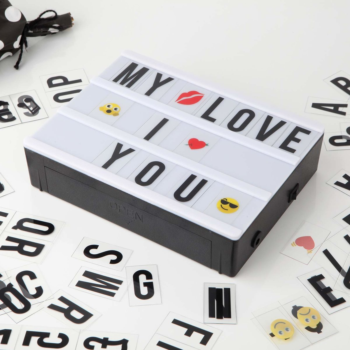 Cinematic Light Box with 90 Letters  Emoji  Smilies and Symbols   Personalise your own Message