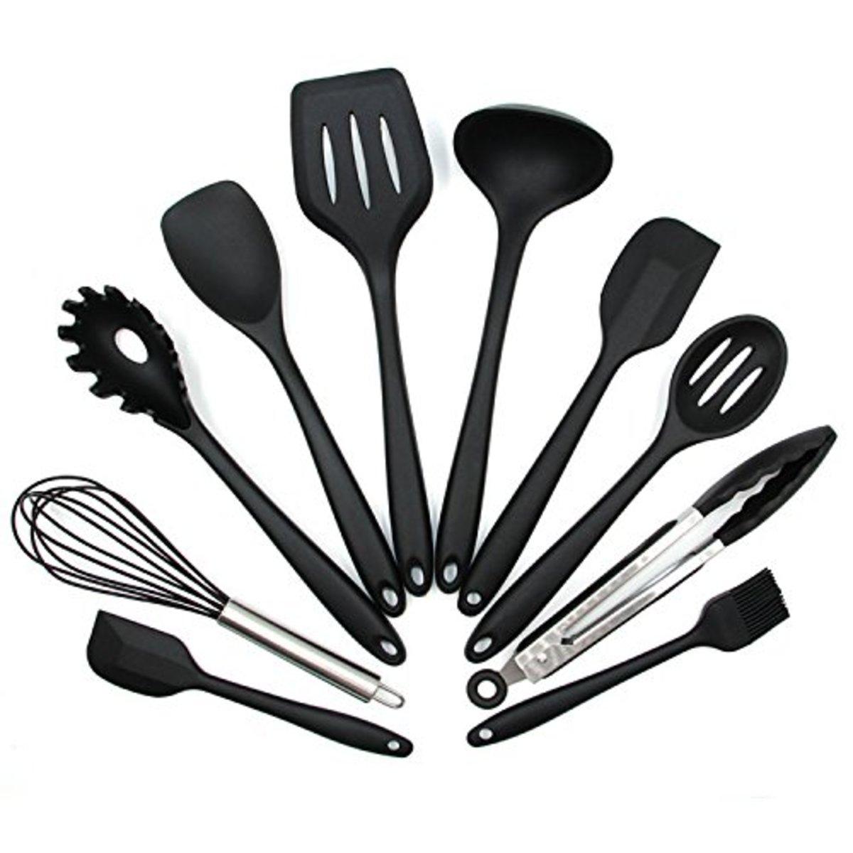矽膠廚具10件套  耐高溫廚房工具  烘焙用具  烹飪用具套裝