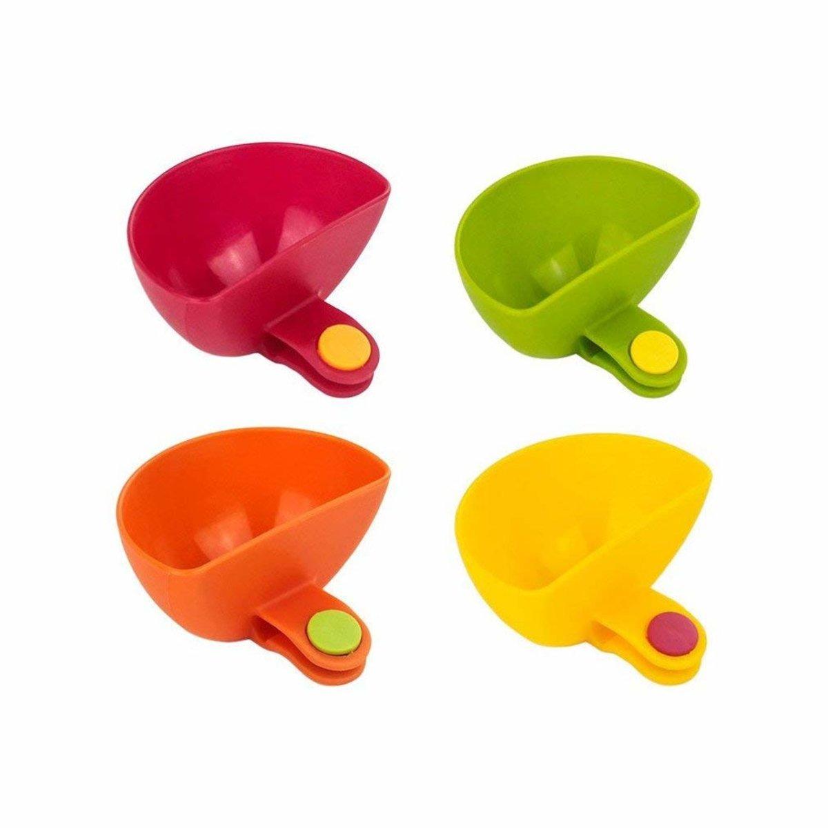【一套4個】廚房工具 夾式調味料容器 醬汁碗 醬油分配架 醬料碟
