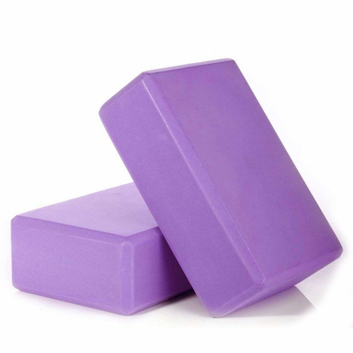 【2個】瑜伽磚 EVA高密度加厚 紫色