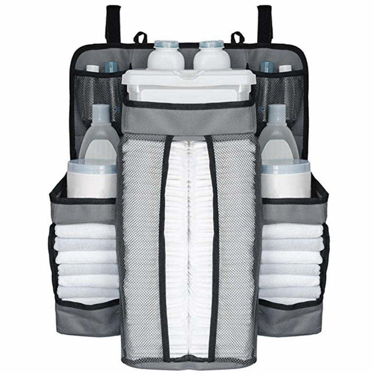 嬰兒床收納袋 大容量 可承重10公斤 嬰兒用品收納 床頭掛袋