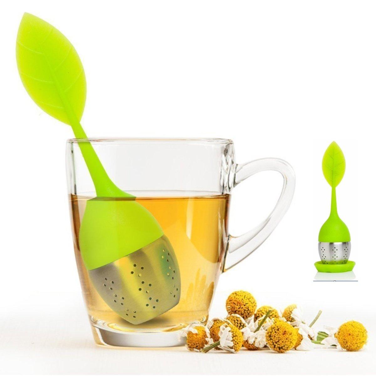 Set of 1 Tea Infuser Leaf Strainer Handle with Steel Ball Silicone Leaf Lid (Green)