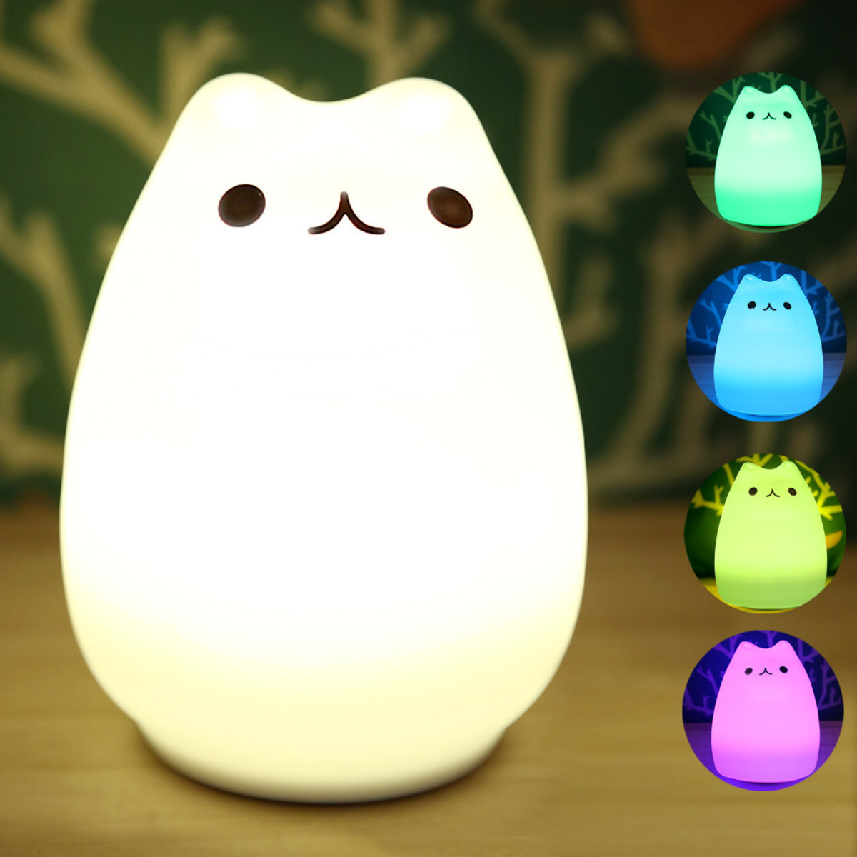 Portable Silicone LED Multicolor Night Lamp USB Rechargeable Colour Changing Modes Tap Control Light