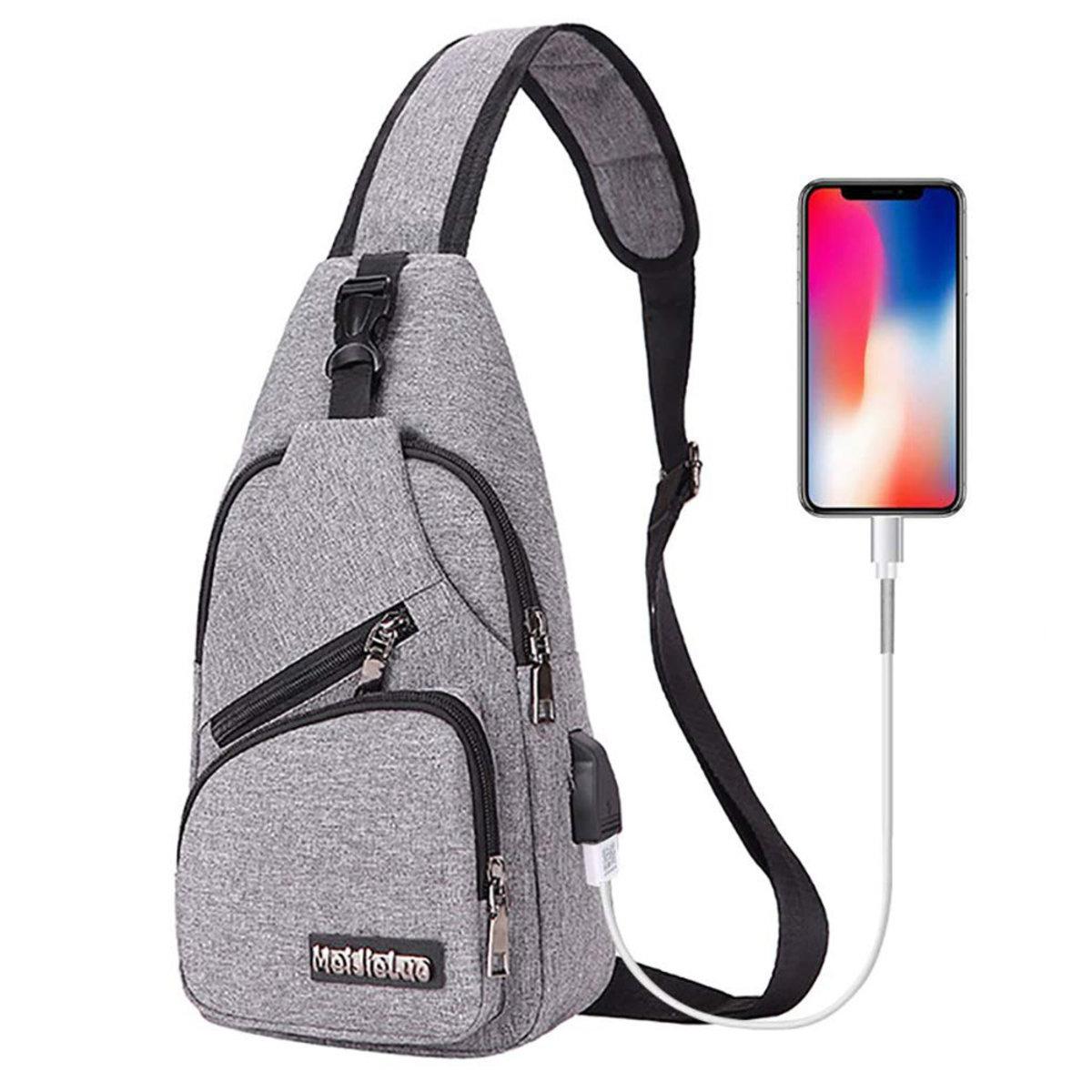 Small Travel Gym Bike Canvas Sling Bag Laptop iPad Mini Sling Chest Cross Body Backpack