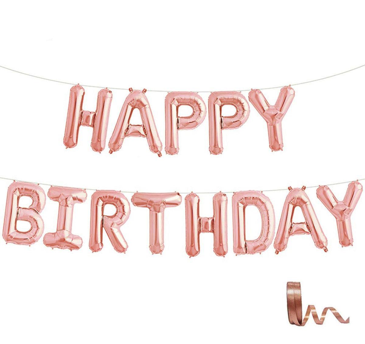 Happy Birthday 16 inch letter aluminum balloon birthday party decoration balloon with ribbon