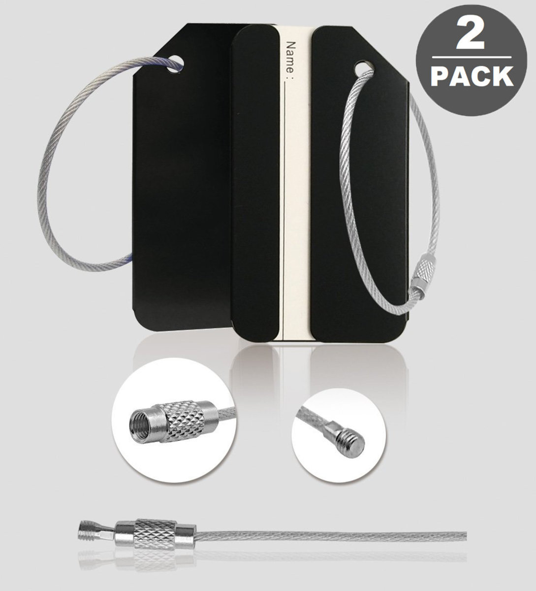【black 2 pcs set】Aluminum alloy Luggage tag  Baggage check-in card