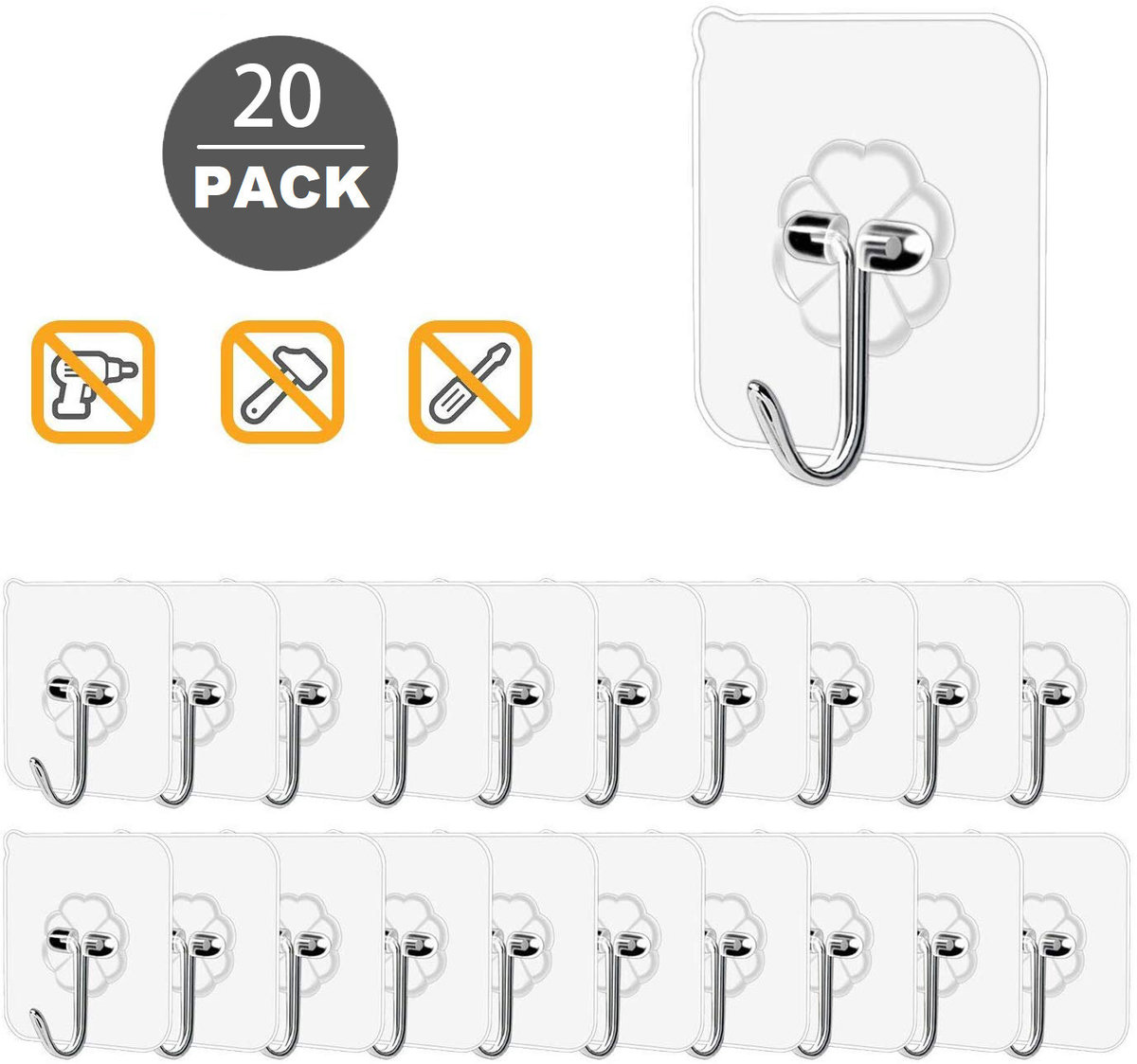 【20 Pack】 Transparent Reusable Seamless Hooks  Waterproof and Oilproof