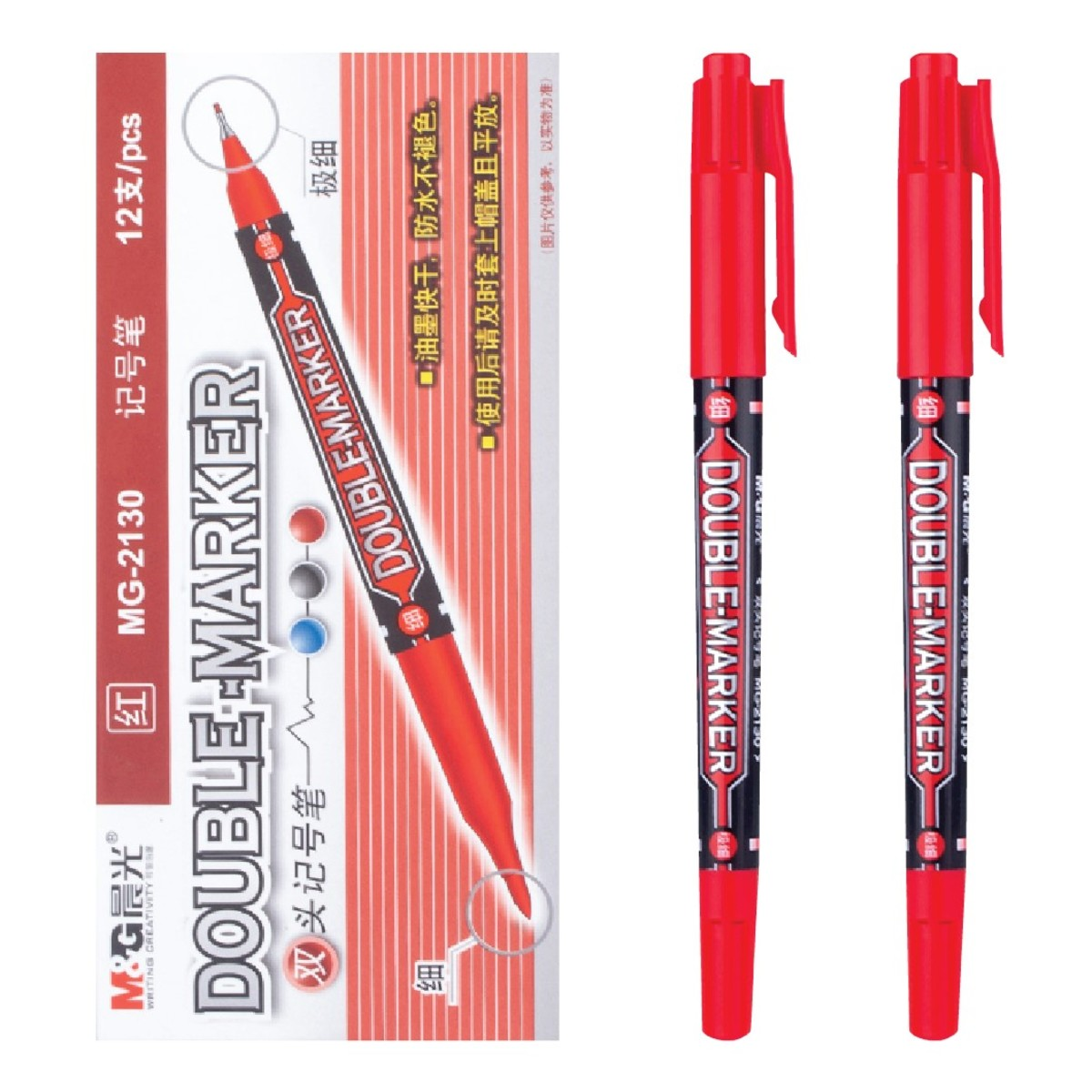 Permanent Marker (Double Tip) Red【6Pcs】