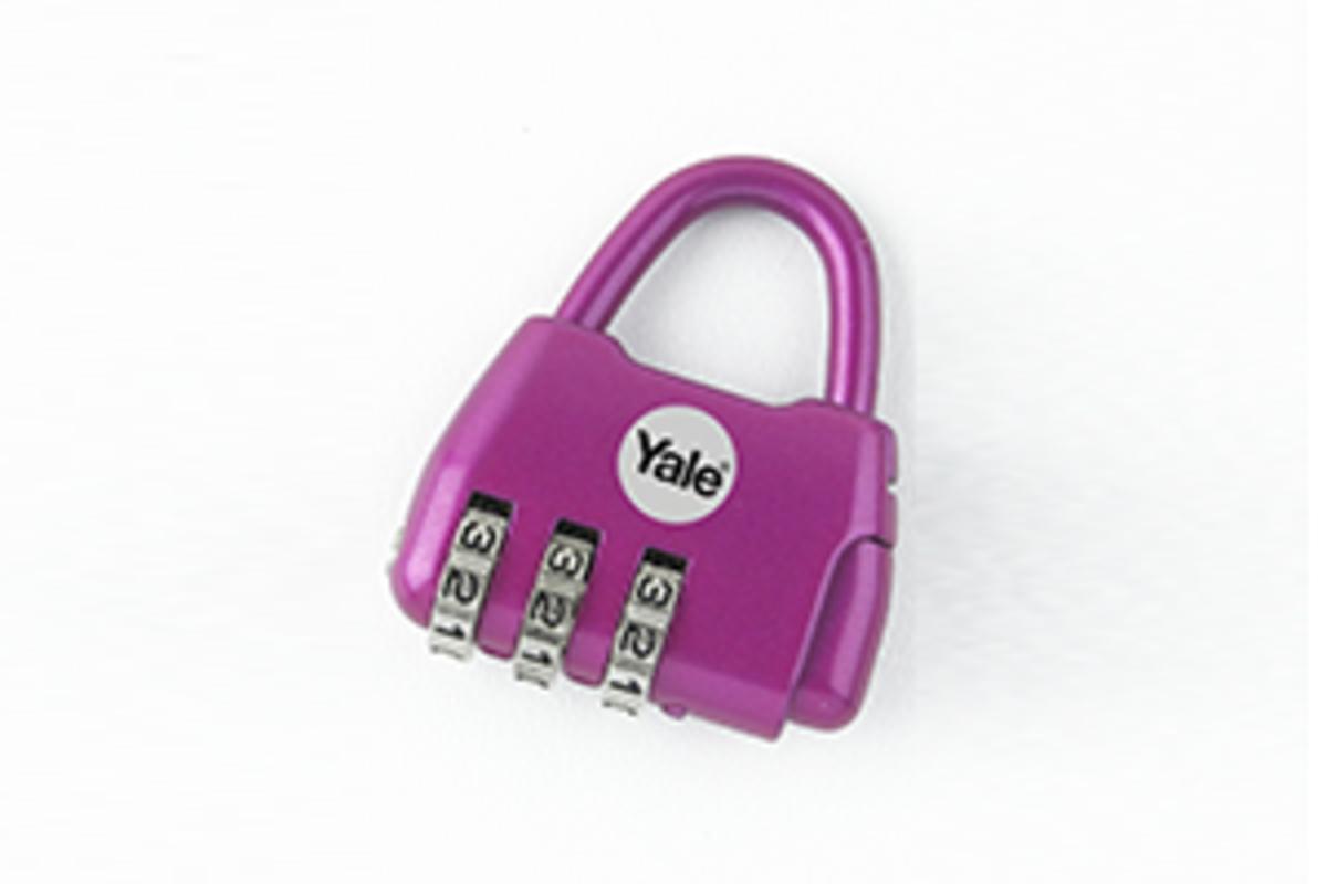 Yale Novelty Lock Range Groove Luggage 3 Digit Combination Lock (Purple)
