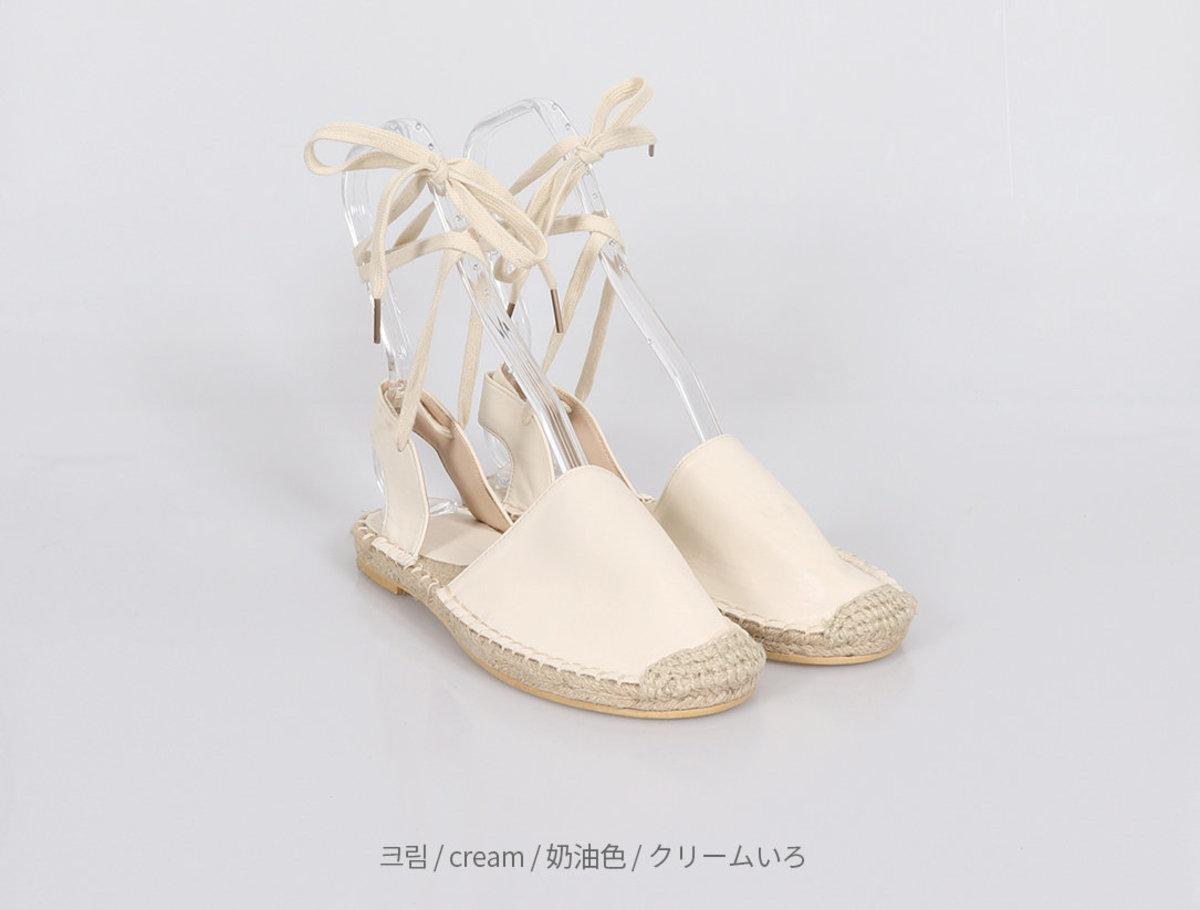 麻繩底密頭低跟鞋