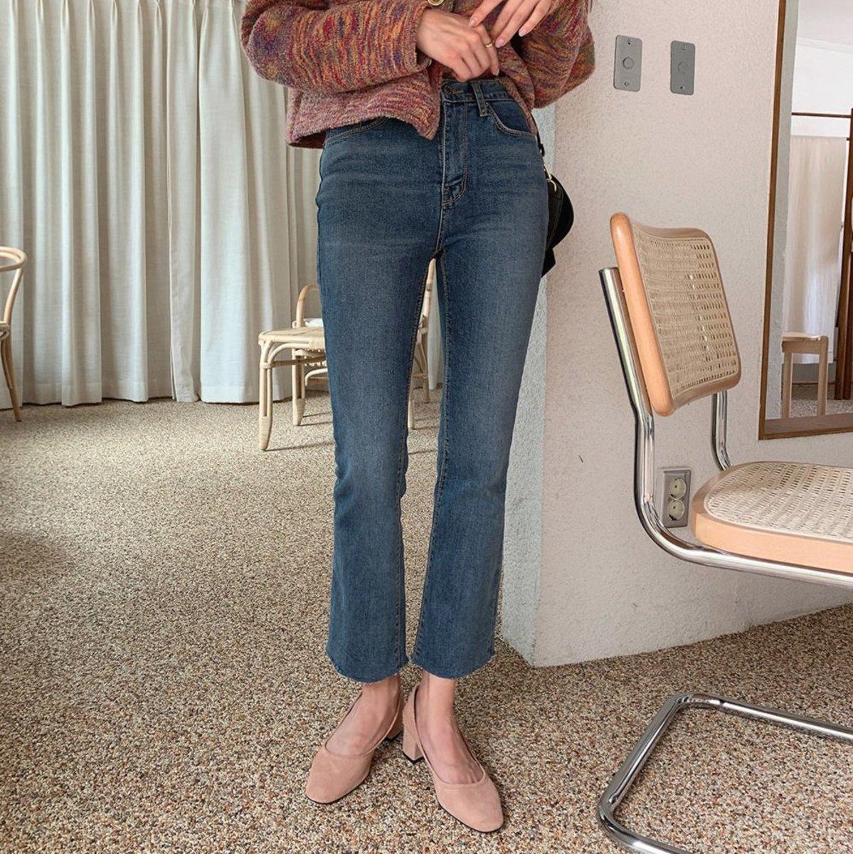 深藍及踝牛仔褲
