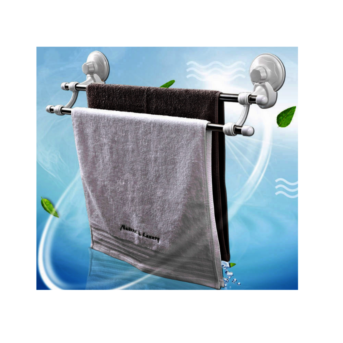 Double clothes hanger with suction cup
