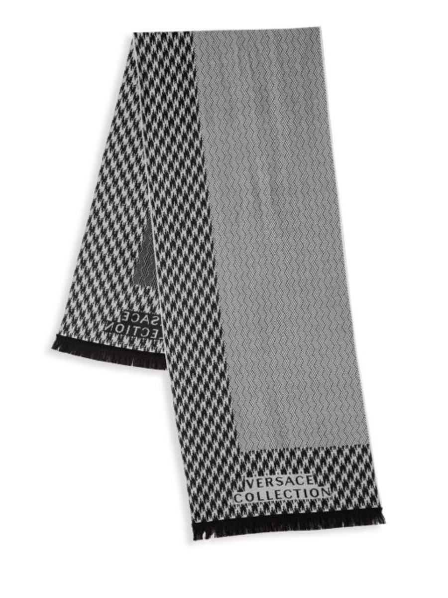 Houndstooth & Herringbone Wool Scarf (Black/White)