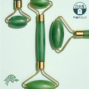 Rokuji 天然翡翠綠石英滾輪按摩棒 水晶冷玉級按摩